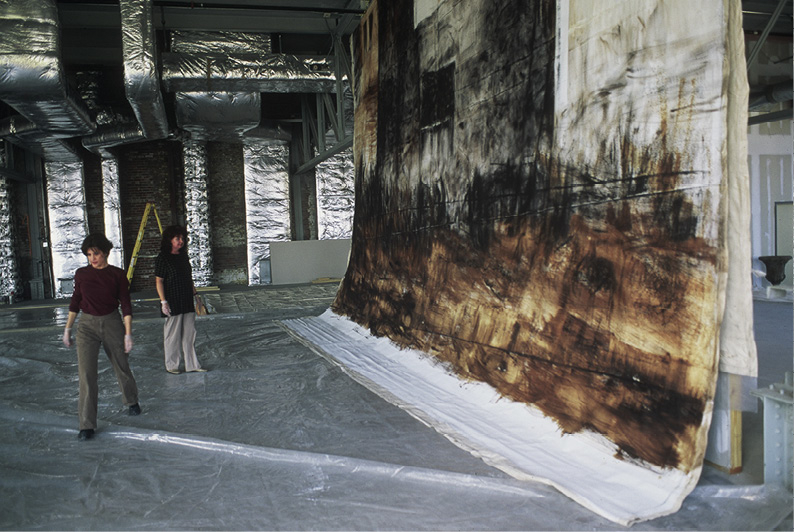 Fantuzzo next to her work in progress