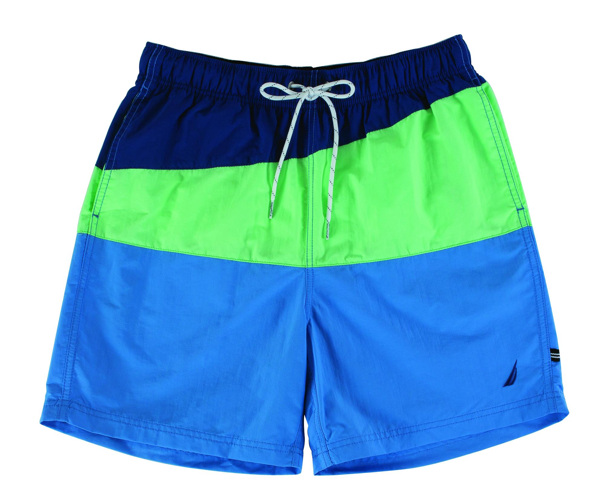 "Nautica ""Slant Colorblock"" swim trunks in ""ash green,"" $40 at Belk Men's Store, Mount Pleasant Towne Centre"