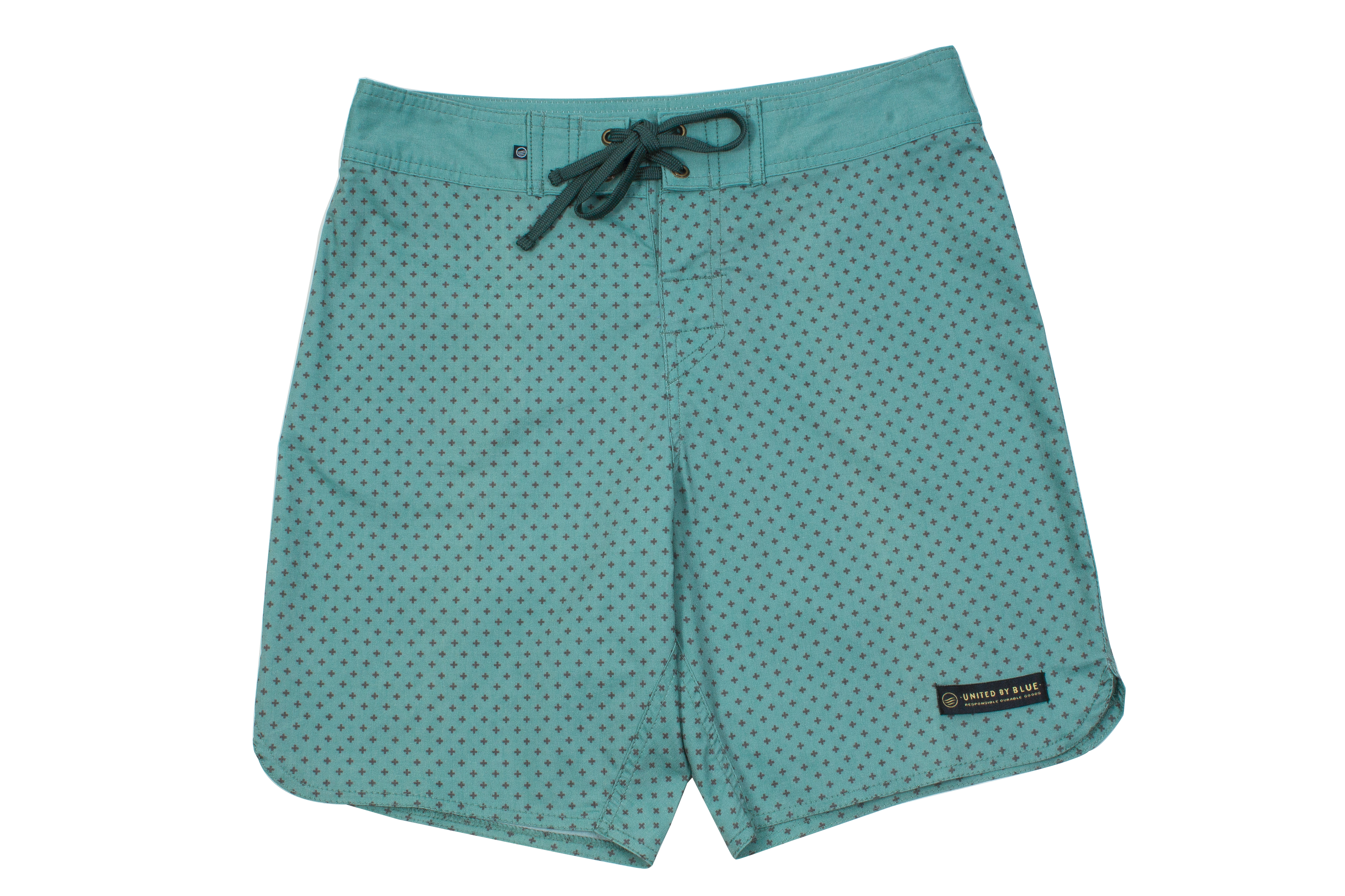 "United by Blue ""Confluence Boardshorts"" in ""green cross dot,"" $68 at Hooley"
