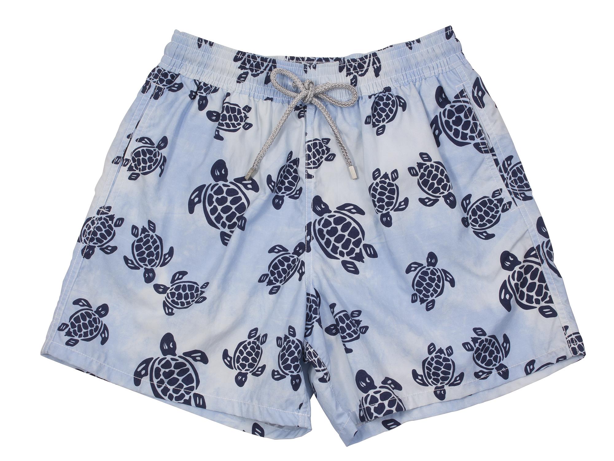 "Vilbrequin ""Moorea Flocked Turtles"" swim trunks in ""sky blue,"" $280 at Gwynn's of Mount Pleasant"
