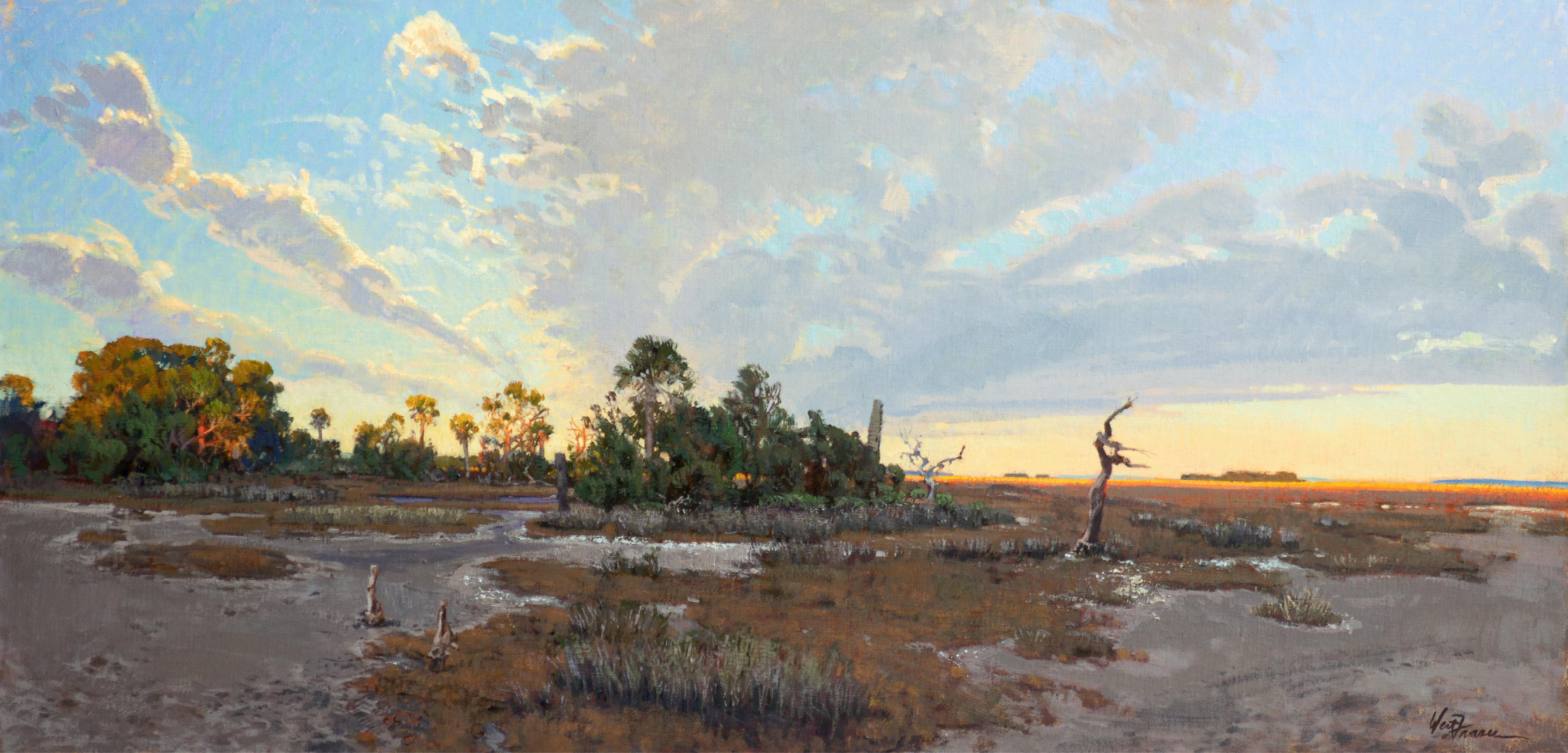 It Could Be the First Day (Spring Island, South Carolina; oil; 22 1/2 ×  461/2 inches; 2012; collection of Larry L. Peery)