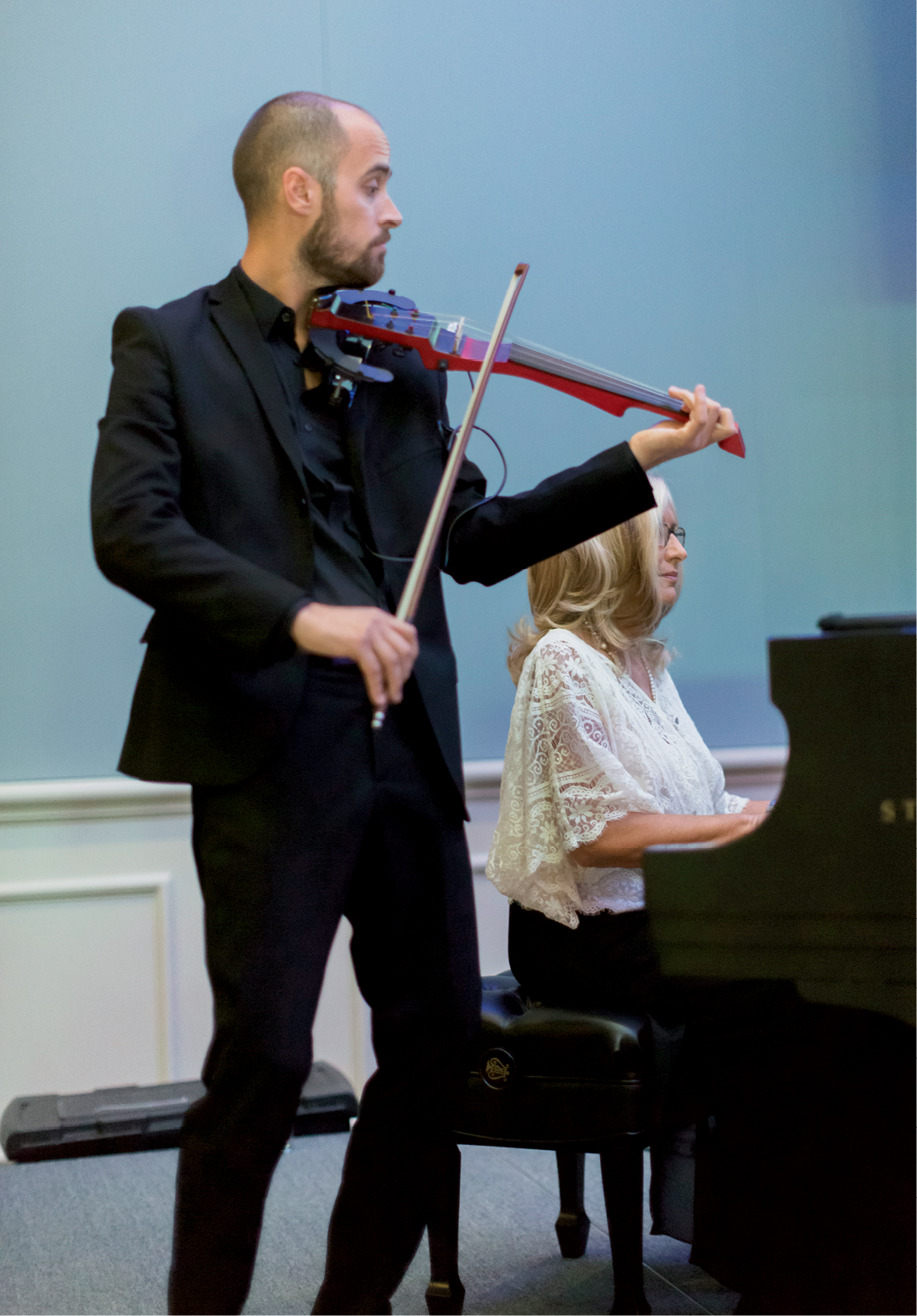 Electric violinist Peter Kiral played '70s hits alongside Steinway Piano Gallery of Charleston pianist Annette Cantrell Martin.