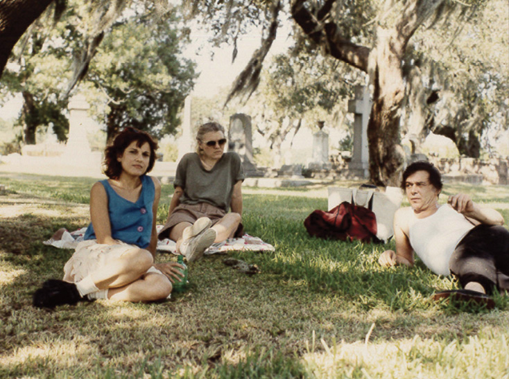 "Fantuzzo and fellow artists Kristi Ryba and Bruno Civitico take a break on a ""painting day"" at Magnolia Cemetery."