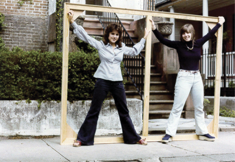 Fantuzzo (at left) with friend Cheryl Keats outside the artist's Hasell Street studio