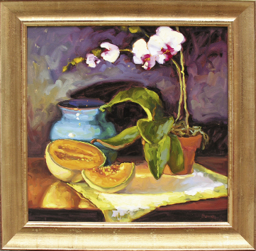 "Orchid & Cantaloupe, 2009, 30"" x 30"", oil on linen"