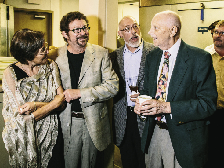 "Robin and Frank Lee with longtime friends Steve Jackson and Malcolm Hudson (far right). ""Malcolm is hugely responsible for my career path and my appreciation of French cuisine,"" says Frank. ""His influence is all over my menus and the lives of countless cooks. We call him 'The Inoculator'—he inoculates young cooks with the spirit of cuisine and after that they are doomed to seek quality and style in their cooking for the rest of their lives."""