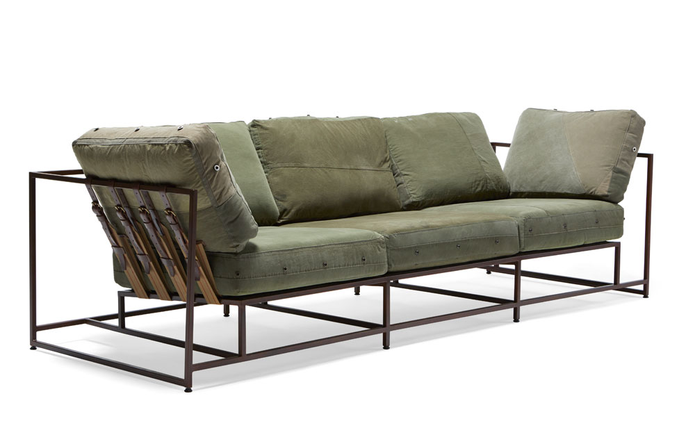 Stephen Kenn Studio military canvas sofa, $6,400 at Fritz Porter