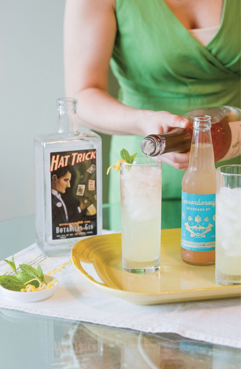 For a refreshing sip, mix Hat Trick gin with Cannonborough grapefruit soda and a splash of sparkling rosé