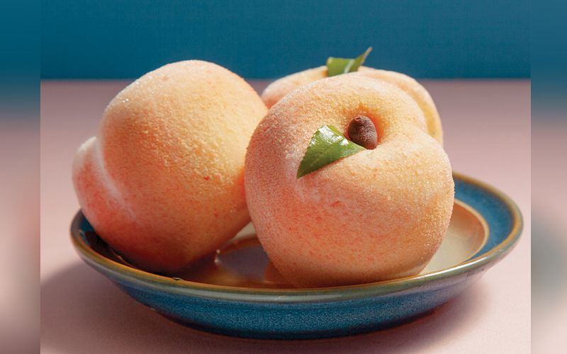 Faux Real - These picture-perfect sorbet Peach Bombes offer just a taste of pastry chef Cynthia Wong's hyperrealistic confections.