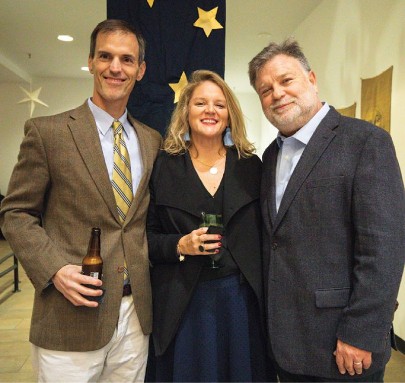 Bill and Ashley Warnock with Halsey Institute Director Mark Sloan