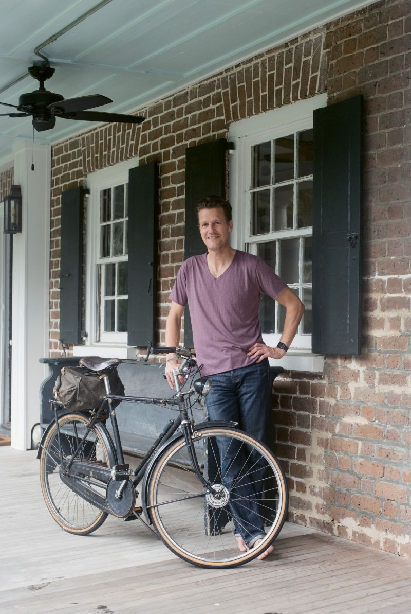 "2:45 p.m. - Top Speed: ""At home in California, I'm super active—I bike 15 miles a day and play sports with my kids,"" Nuttall says. ""Here, I ride this bike everywhere; it's by far the best way to get around Charleston. Our head stage manager, Walter Crocker, has a whole fleet of bikes that he loans out, and for the last 15 years, he's given me this 1953 English three-speed."""