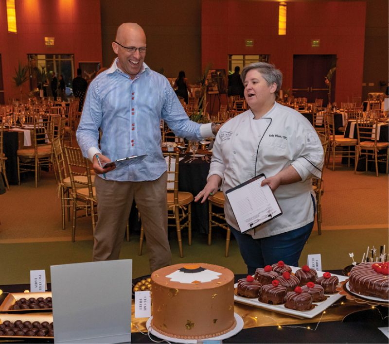 Dessert judges chef Demal Mattson and executive pastry chef Kelly Wilson