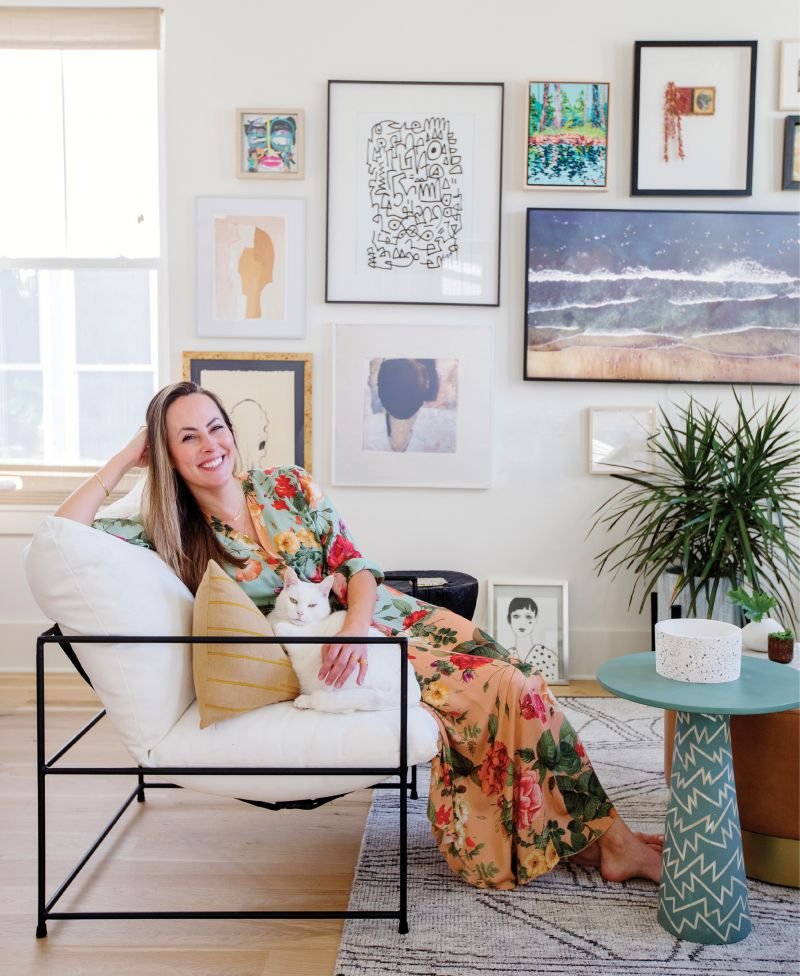Interior designer Jesse Leigh Vickers loves an eclectic but collected art wall, especially the one she curated for her first home. Tour her new digs in Park Circle and pick up her tips for infusing spaces with personality and luxe details.