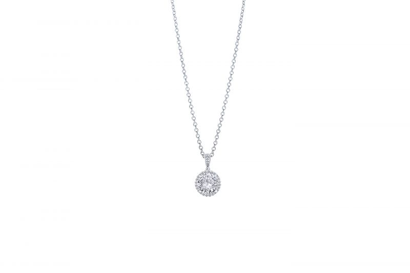 Diamonds Direct Designs 14K white-gold diamond pendant with halo accent, price upon request at Diamonds Direct