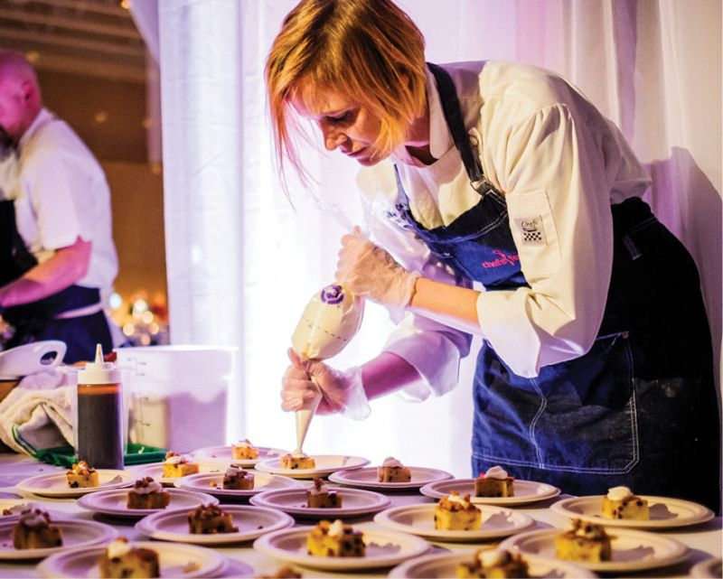 Lowcountry Food Bank Executive Chef Emily Cookson prepares bread pudding.