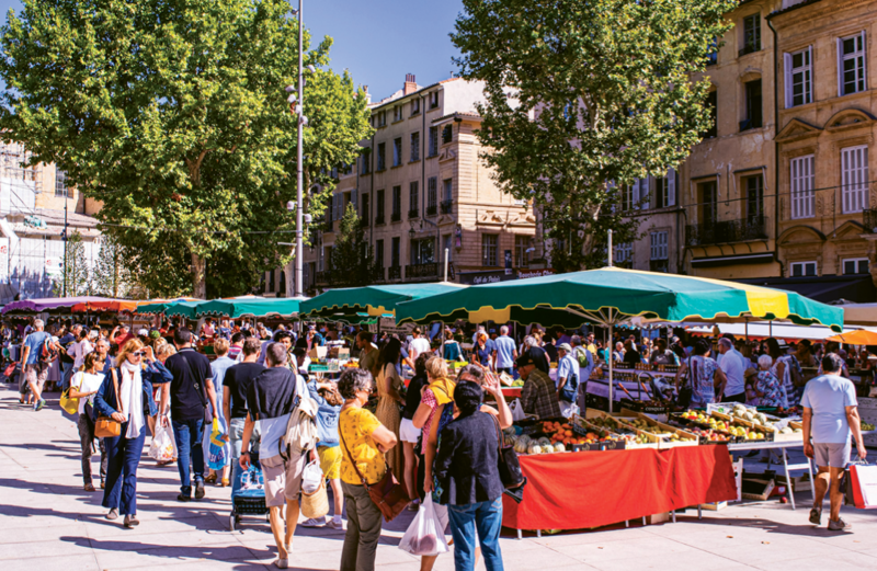 Shopping for Chef's dinner ingredients at market day in Aix-en-Provence