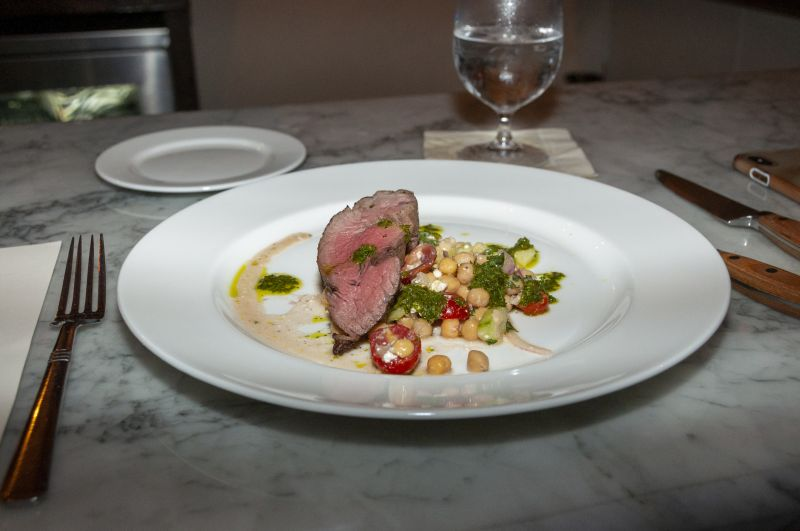 Beef tenderloin with chermoula marinated chickpeas prepared by Little Chef William Herring and Big Chef Will Fincher of The Obstinate Daughter.