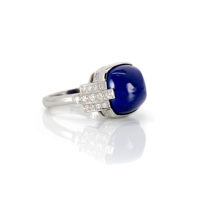 Kiersten Elizabeth Fine Jewelry 8.83 ct Sugarloaf cushion-cut lapis and 0.50 ct diamonds in platinum ring, $6,375 at kierstenelizabethfinejewelry.com
