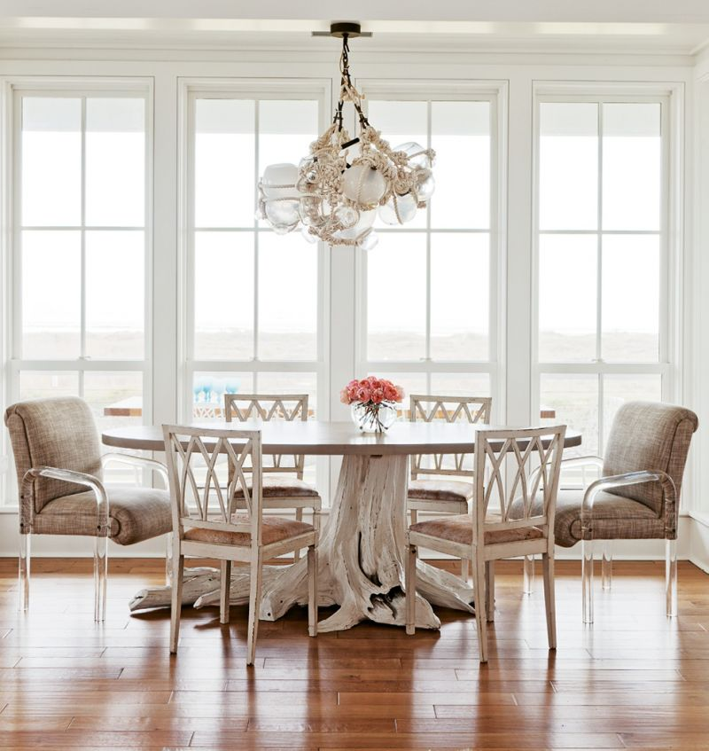 Furniture maker Brian Hall of Kistler Design Co. searched high and low for the perfect cypress stump to anchor the dining table.