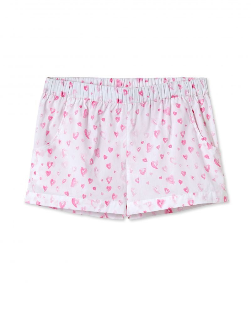 "Lake Pajamas ""Heart"" printed shorts set, $118 at Lake Pajamas"