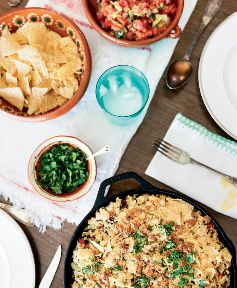 """When we get into a rut, I ask the children to give me a country—Mexico, Italy, China—as a jumping-off point for a dinner plan,"" says Morey. Poblano peppers pop in this Mexican-inspired corn and rice dish."