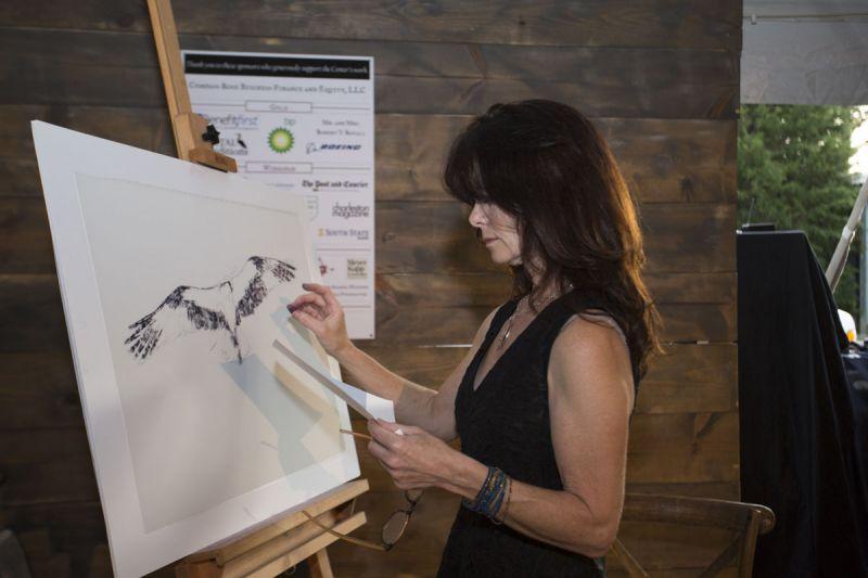 Artist Cecilia Murray created a custom oil pastel work of the Center's osprey.