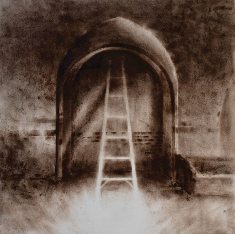 Bold Brush: Confined Ladder (oil on paper, 50 x 50 inches, 2019) demonstrates Fantuzzo's breadth of technique, here using dry brush to explore an ephemeral interplay between passages and confinement.