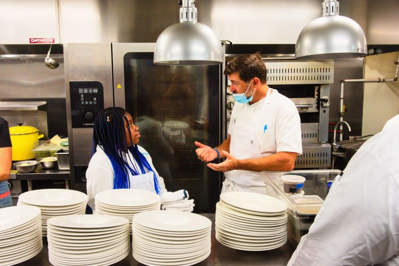 Little chef Journee Myers with chef Mike Lata of FIG and The Ordinary