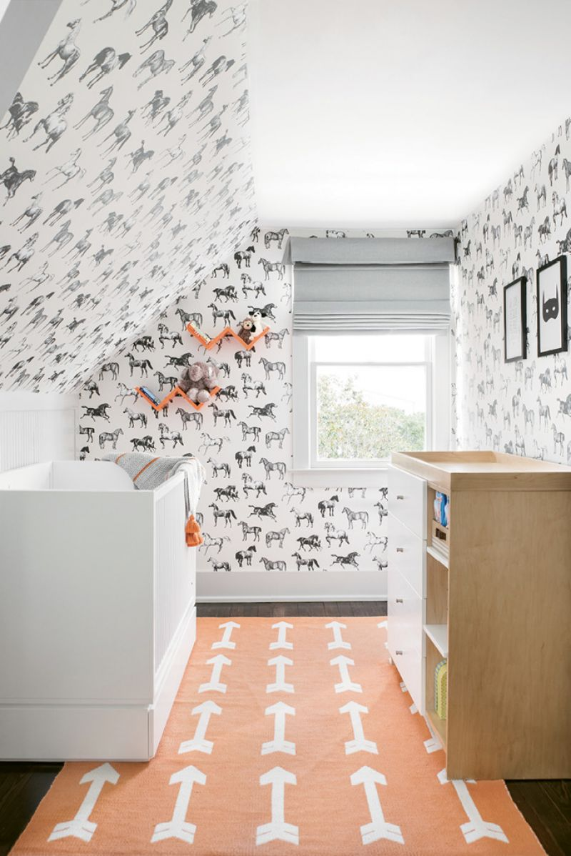 "Sandberg Wallpaper UK's ""Collette"" for him—helps, as do built-ins rife with books and toys."