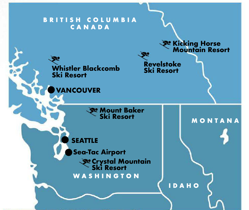 Easy Access: Alaska Airlines' direct flight to Seattle-Tacoma International Airport (aka Sea-Tac) takes about six hours. From there, it's an incredibly scenic four-hour drive to Whistler, with Vancouver serving as a welcome way point. Crystal and Baker mountains make perfect bookends for a comprehensive ski tour.