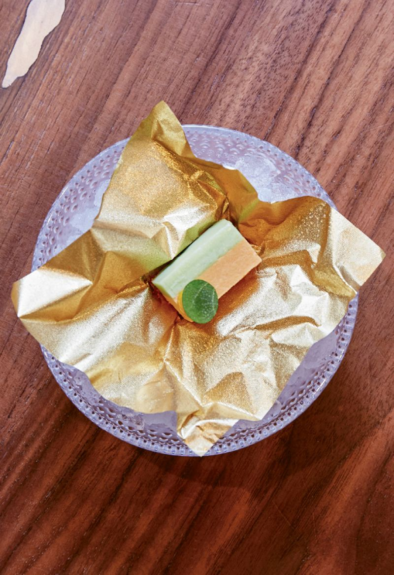 An ingot of uni and cucumber appears to have a mousse-like texture, but is ice-cold