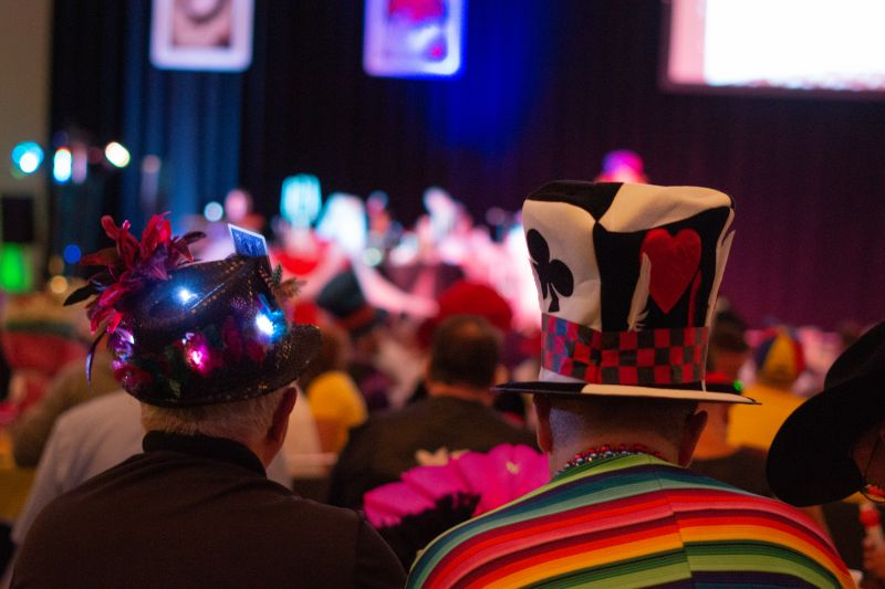 Fun hats and costumes filled the Convention Center during Gay Bingo.
