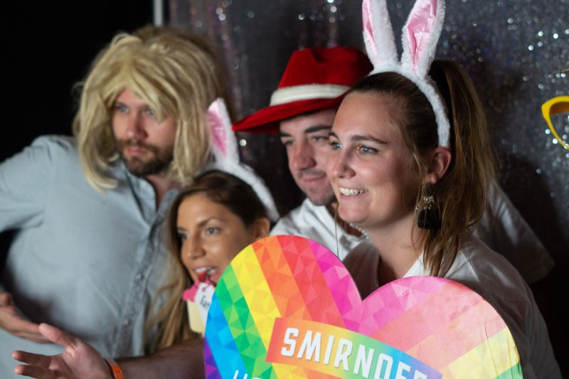 John Lee Clair, Emily Trogdan, Spencer Willis, and Hanna Reed enjoyed the photo booth.