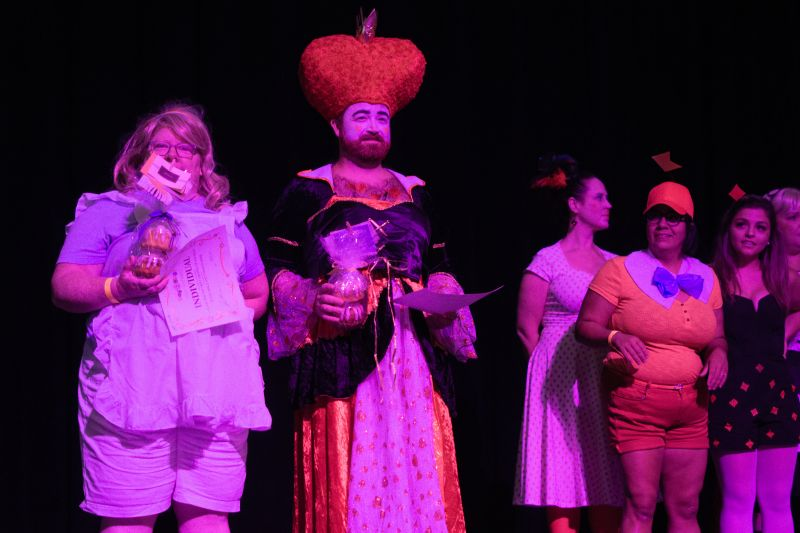 After strutting down the runway, audience members were congratulated on their costumes.