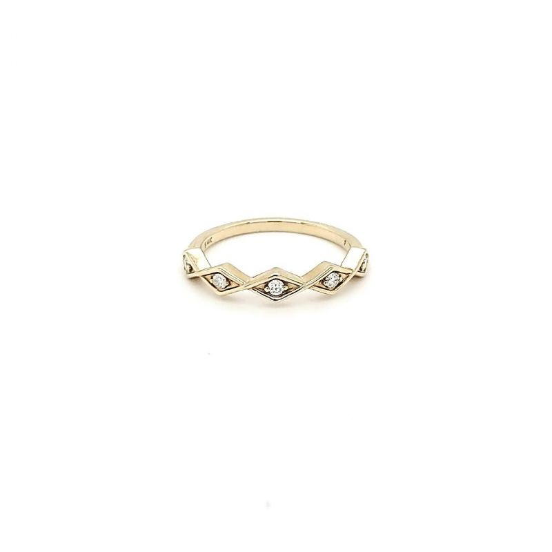 """Gold Creations """"The Geometric"""" 14K yellow-gold and diamond stackable ring, $750 at Gold Creations"""