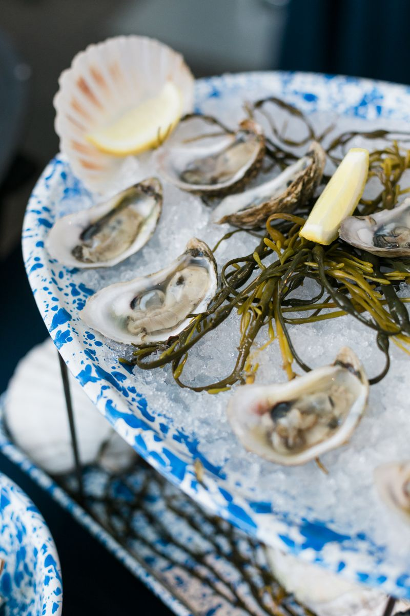 Chef Nico Romo's Toogoodoo oysters on the half shell with fennell strawberry mignonette