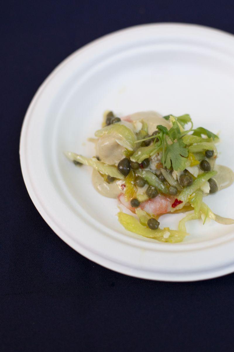 Chef Ken Vendrinski of Coda Del Pesce and Trattoria Lucca offered guests a delightful fresh local shrimp tonnato.