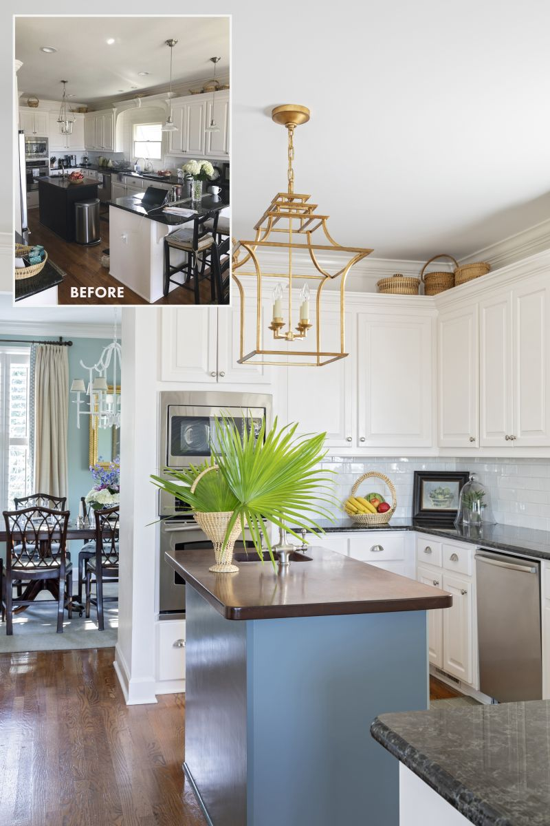 """ISLAND LIVING: Painting the base of the petite island in Benjamin Moore """"Knoxville Gray"""" and replacing the light fixture with a Visual Comfort gilded iron pagoda lantern updated the existing kitchen, aligning it with the rest of the home's redesign."""
