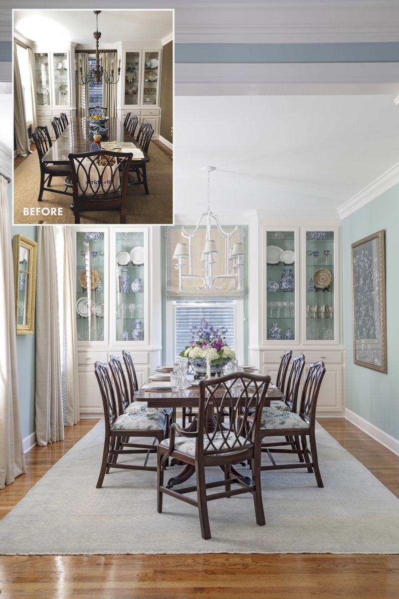 """SEA CHANGE: Swapping out a sisal rug for a gorgeous wool Oushak in a tone-on-tone pattern and painting the walls and the back of the built-ins with Benjamin Moore """"Wythe Blue"""" refreshed this formal dining room. A few touches of fabric, from recovering the chairs in chintz to adding the white chandelier from Wildwood with linen shades from Ballard Designs, and the transformation was complete."""