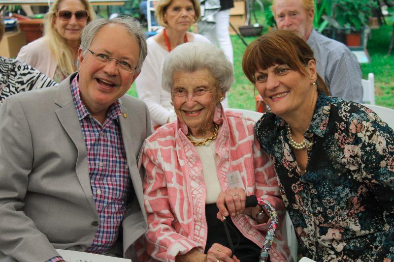 Mayor John Tecklenburg, guest of honor Lucile MacLennan, and Sandy Tecklenburg
