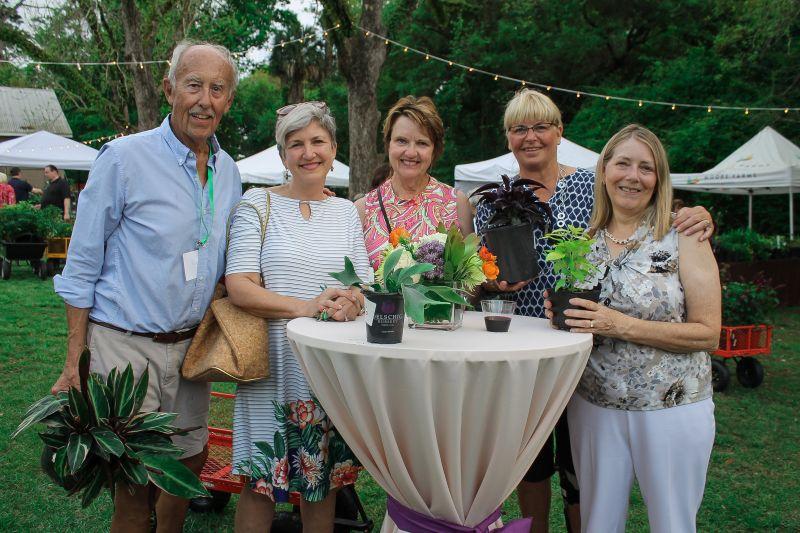 Rolf Kolconay with Garden Club of St. James members Gwen Best, Barbra White, Nancy Wanczowski, and Rebecca Privott