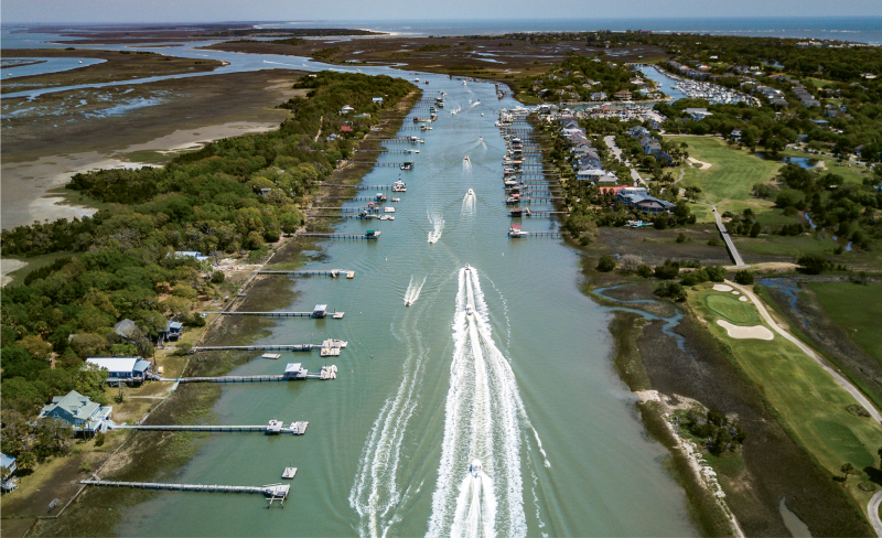 """""""Easter Weekend Traffic""""  {Altitude: 250 feet}  A parade of boats motoring down the Intracoastal Waterway near Isle of Palms"""