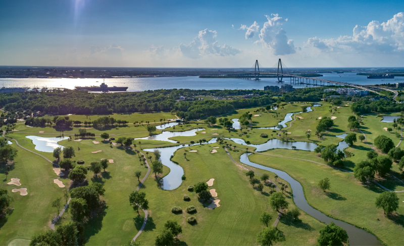 """""""Patriots Point Links"""" {Altitude: 200 feet} High above Mount Pleasant's harborside golf course one April afternoon, with views of the USS Yorktown and downtown beyond"""