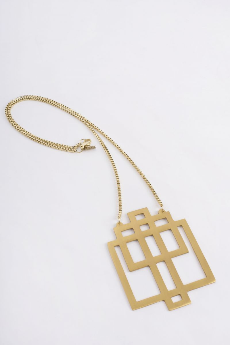 Ink + Alloy Geometric squared brass pendant with gold chain, $78 at V2V