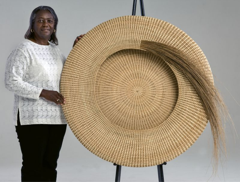 One & Done: Commissioned by a patron who later donated it to the Gibbes, Jackson's Never Again (2007, sweetgrass and palmetto, 42 inches) took three years of intricate work. A masterpiece of craft, the shape harkens back to the traditional flat rice baskets, but takes it to a soaring new level.