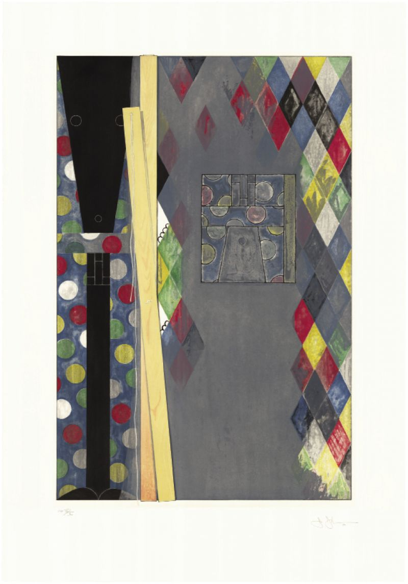 Bushbaby by Jasper Johns, 2004, intaglio in 10 colors, 43 x 30 inches, Edition 55; published by Universal Limited Art Editions, licensed by VAGA, New York, New York, courtesy of Halsey Institute of Contemporary Art