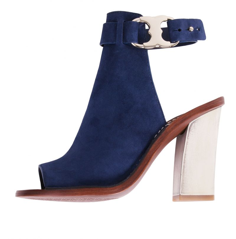"""Tory Burch's suede """"Gemini Link Peep-toe"""" ($350 at Gwynn's of Mount Pleasant) is one knockout example (how sexy is that horn-like resin heel?)"""