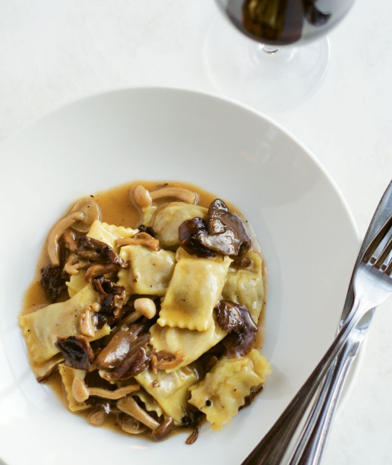 Pasta Pillows: Duck and Parmigiano-filled agnolotti with  oyster and shiitake mushrooms.