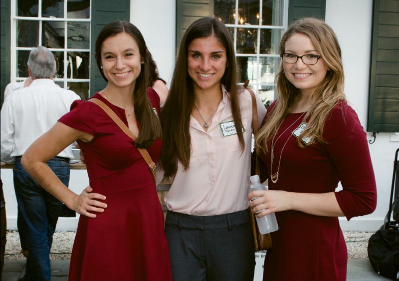 College of Charleston LDEI scholarship recipients Sara Romo, Lauren Furey, and Elizabeth Varnes