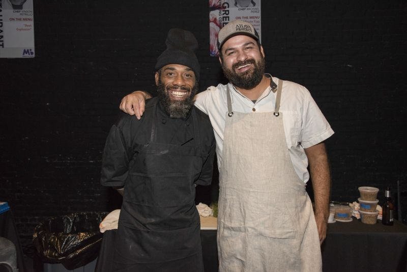The team of Cannon Green: Chef Michael Perez and his partner for the seven-minute eggs